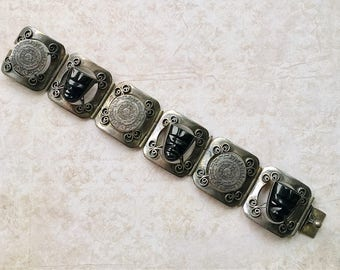 Sterling Silver Mexican Handcrafted Bracelet with Black Obsidian