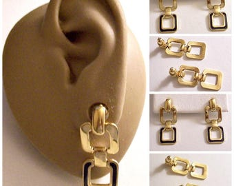 Monet Blue Square Hoop Pierced Stud Earrings Gold Tone Vintage Navy Enamel Striped Edge Double Ring Chain Link Dangles
