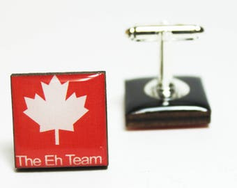 The Eh Team Cufflinks | canada maple leaf canadiana mens accessories patriotic pride polite personalized gifts nostalgic links slang