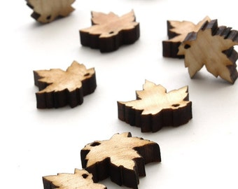 Spring Mini Red Maple Leaf Beads - Itsies - Laser Cut Wood   Timber Green Woods Sustainable Forestry Products