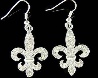 Swarovski Crystal Fleur De Lis Lys Flower Floral French Paris Iris Quebec Dangle Earrings Jewelry Best Friend Christmas Birthday Gift New