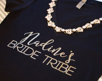 Bride Tribe V neck. Bride Tribe Tshirt. Bride Tribe Shirt. Bride Tribe T Shirt. Bride Shirts. Bridal Party Shirts. Custom bride tribe