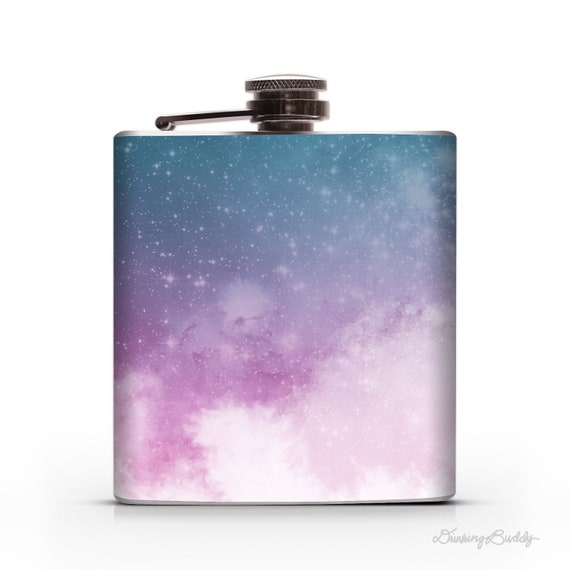 Pink, Purple and Blue Space Clouds - Whiskey Vodka Hip Flask