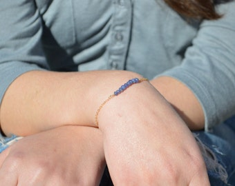 Sapphire Bracelet, Danity Stacking Bracelet, 14k Gold Fill, Sterling Silver, Rose Gold, Blue Bracelet, Sapphire, Bar Bracelet, Gold Bracelet