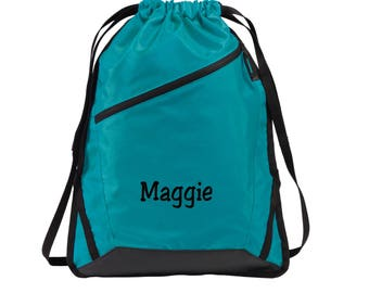 Personalized Drawstring Backpack - Embroidered.  Custom Name Drawstring Backpack Bag. Personalized Gifts. SM- BG616.
