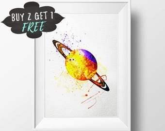 Saturn Art Print Poster, Planet Saturn Wall Art Nursery Decor Printable Watercolor Instant Download, Kids Art Gift For Baby