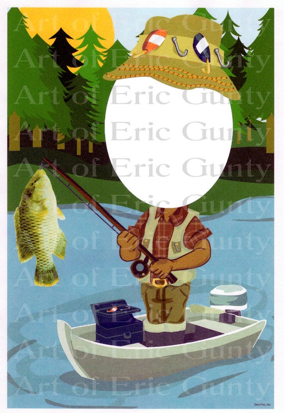 African American Fisherman - Edible Cake and Cupcake Photo Frame For Birthdays and Parties! - D22545