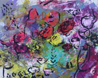 Modern Abstrct Original Artwork Painting Acrylics & Pastels on Paper- Somewhere in Spring