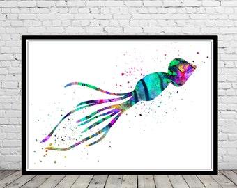 Squid, Squid art, Squid print, Ocean art, sea life, kids room decor, nursery art, watercolor Squid, home decor, animal art(2577b)