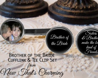 SALE! Brother of the Bride Personalized Cuff Links and Tie Clip Set - Wedding Cufflinks- Cyber Monday