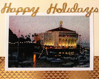 Catalina Christmas Happy Holidays Handmade Card, Casino Building in Avalon Harbor with Holiday Lights Foil and Glitter Embelishments