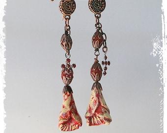Rustic Bohemian Flower Earrings, Mexican Folk Art Earrings, Primitive Polymer Clay Earrings, Artisan Assemblage, Red Earrings for Women,