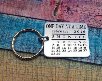 Sobriety Keychain, Sobriety Key chain, Sobriety Anniversary, Sobriety Milestone, Engraved keychain, Personalized keychain, Sobriety gift