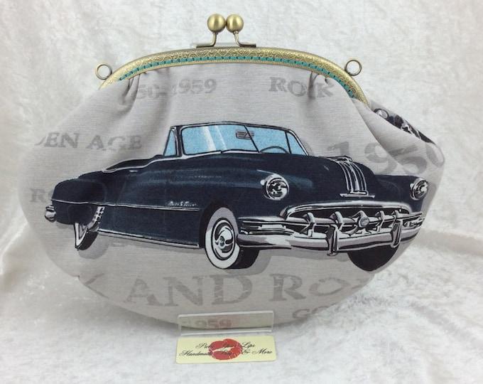 American cars Fabric  purse bag frame handbag fabric clutch shoulder bag frame purse kiss clasp bag Handmade 50's Cruisers