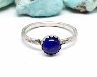 Blue Lapis Ring - Sterling Silver - Stacking Ring for women - Blue lapis lazuli Stone