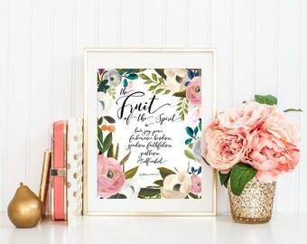 Bible Verse Scripture Printable Art Print, Fruit of the Spirit Art Printable, 8x10, Calligraphy Print, Gift for Her, Verse Printable