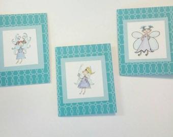 Set of three Fairy blank notecards teal blue