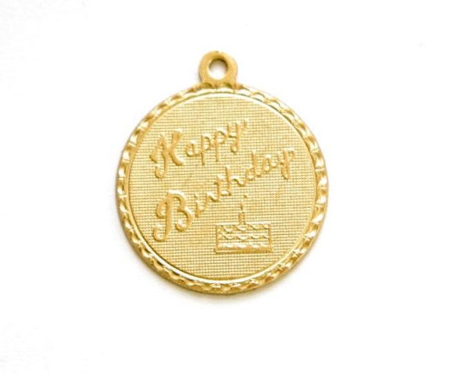 Raw Brass Happy Birthday Charm Drop with Loop (1) chr190QQ