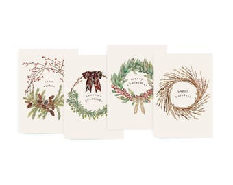 Botanic Wreath Variety Holiday Card Set - Holiday, Christmas, Seasonal Illustrated Greeting Card Set