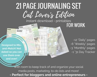 Cat Lovers (For Work Edition) 21 page Journal printable set - planner inserts for bujo printable planner -bullet journal 2018 - for bloggers