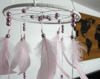 Blush Pink Baby Mobile, Dream catcher Mobile, Boho Feather Mobile, Nursery Mobile, Woodland Mobile, Native American Style
