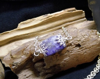 Minimalist Purple Charoite Gemstone 24 in. Necklace Small Petite, Bar Necklace, Teachers, Friends