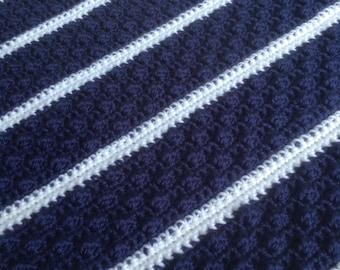 Cozy Nautical Bobble Stitched Crochet Lap Blanket