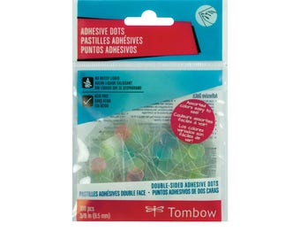 Tombow Permanent Adhesive Dots, Assorted Colors, 100-Pieces