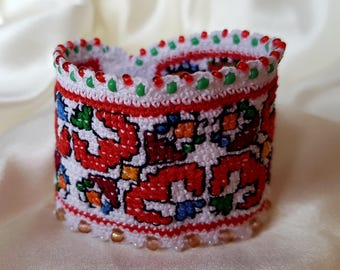 Unique Handmade Bracelet with Bulgarian Traditional Embroidery,Perfect Gift For Her, Handmade Cuff Bracelet,Crochet Cuff Bracelet,Etno Style