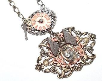 Steampunk Necklace, Beetle, Bronze, Copper, gears, unique necklace