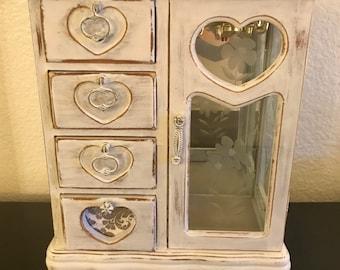 Vintage Jewelry Armoire, Jewelry Box, SHABBY CHIC, Distressd, White Chalk Paint, Jewelry Storage