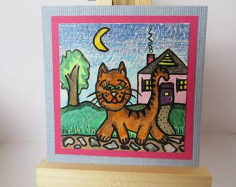 """Kitty Kitty Miniature Painting Colored Pencil Watercolor 2"""" wide X 2"""" tall for dollhouse or collecting"""