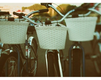 Bicycle Photograph - Bike Art - Mackinac Island Print - Travel Photography - Baskets - Fine Art Photograph - Oversized Art - Alicia Bock