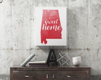 Sweet Home Alabama Crimson & White Wrapped Canvas Print, Wall Decor
