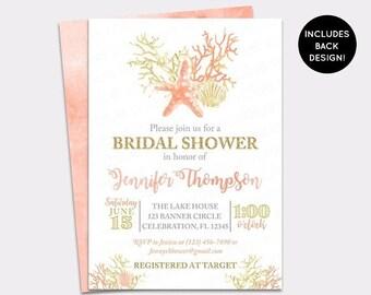 JUNE SALE Beach Bridal Shower Invitation - Seashell Wedding Shower Invite - Sea Mermaid Bridal - Watercolor Coral & Gold Bridal Brunch Invit