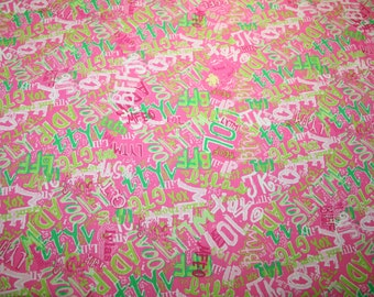 "Lilly Pulitzer fabric ~HOTTY Pink TEXT MESSAGE~ 18"" by 18""~ 100% cotton/linen"