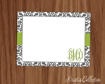 Personalized Damask Note Card Set - Personal Monogrammed Stationery Stationary - Custom Flat Notecards - Girls Ladies Gifts