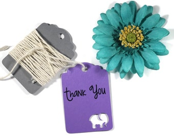 Elephant Thank You Baby Shower Tags 20pc - Purple Shower Favors - Thank You Tags - Elephant Party Gift Tags - Purple Shower Favor Tags