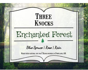 Enchanted Forest - Three Knocks Candles - Bookish Candle - Scented Soy Candle - 8 oz Jar