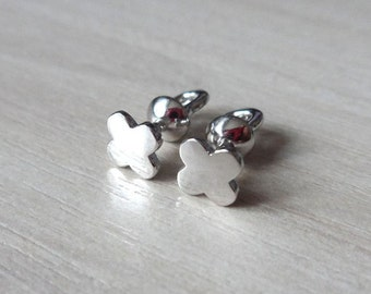 Silver Stud Earrings Studs Lucky Clover Quadrifoil for Everyday No Stone