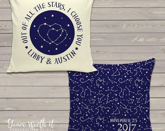 Wedding gift pillow constellation stars personalized with couples names and wedding date WCCS