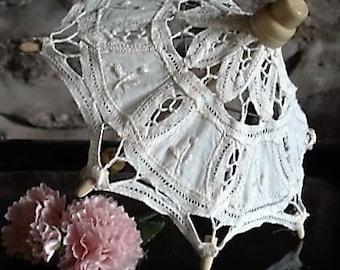 Ivory Lace Umbrella, Ornamental, Table Decoration, Centre Piece, Home Decor, Vintage Linen, Wedding Decoration, Display Item, Decoration