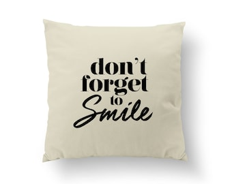 Don't Forget To Smile Pillow, Typography Pillow, Home Decor, Gold Cushion Cover, Throw Pillow, Bedroom Decor, Bed Pillow, Gold Pillow,