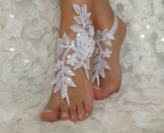 Sandals Bangle Wedding Bridal Jewelry Beach white Bridal lace shoes beac Anklets Weddings Bridesmaids Accessories Bridal Barefoot Gift Shoes OEwpwBq