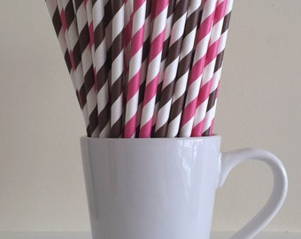 Pink and Brown Paper Straws Dark Pink and Brown Striped Party Supplies Cowgirl Party Decor Bar Cart Cake Pop Sticks  Graduation