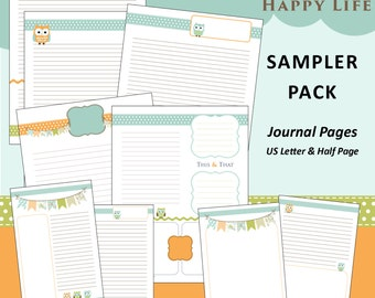 Limited Edition: Printable Journal Paper PDF - US Letter & Half Page - Happy Owls