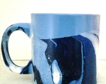 Blue Mug/Blue Ceramic Coffee Mug 16 Oz/HandPainted Blue Mug/Large Blue Mug/Blue Tea Mug/Blue Latte Mug 16 oz/Blue  Mug/Hand Painted Blue Mug