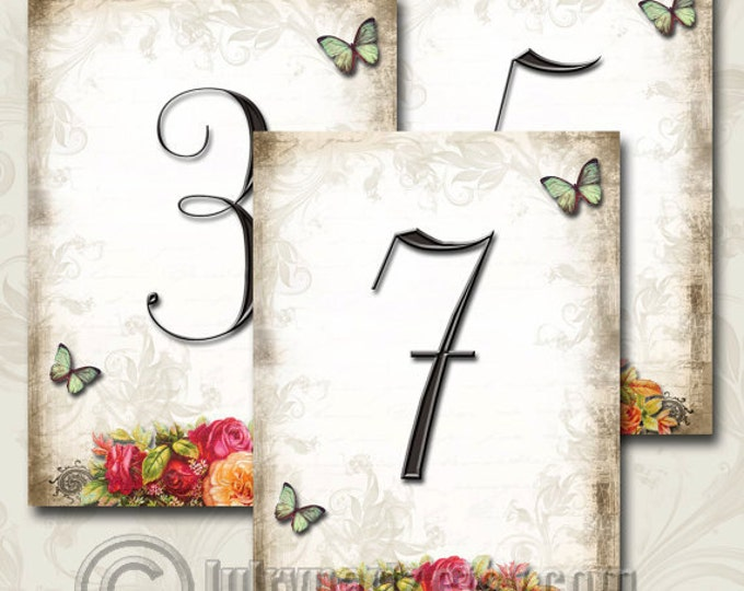 Le Jardin BOUQUET Wedding Table Number, 5x7, Printable, Weddings, Parties, Bridal Shower, Baby Shower, Seating Numbers, wedding decoration