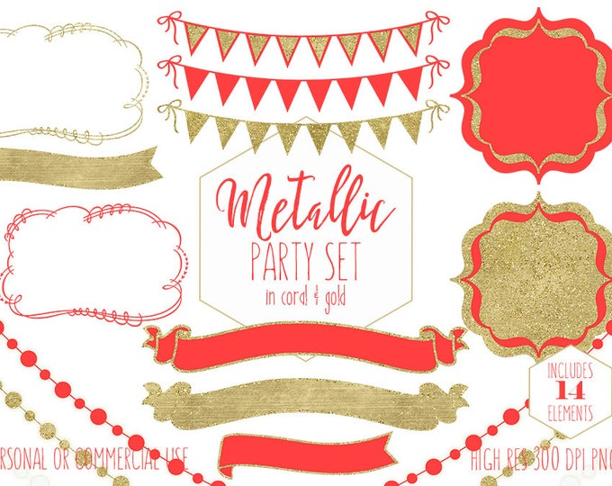 GOLD PARTY CLIPART for Commercial Use Clip Art Metallic Bunting Banner Frames Fairy Lights Coral Red Planner Images Wedding Digital Graphics