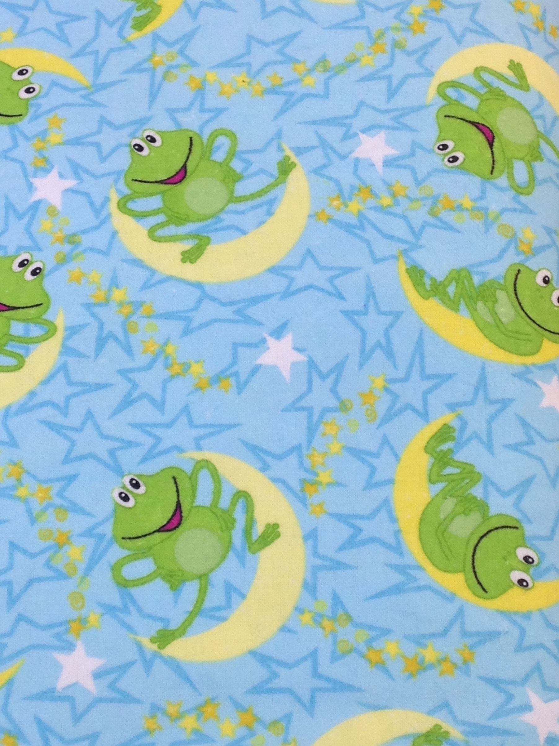 blue pink Frog flannel, lily pad stars moon pink blue baby flannel ...